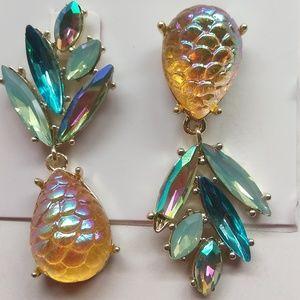 BetseyJohnsonNewMismatch Yellow Pineapple Earrings